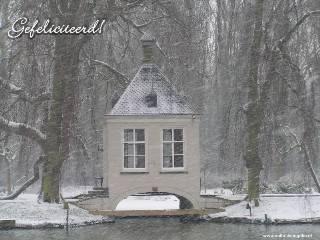 Gefeliciteerd Wit Winter Theehuisje