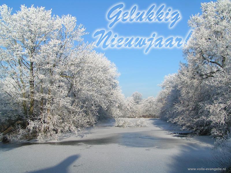 Gelukkig Nieuwjaar Blauwe lucht witte sneeuw bevroren gracht