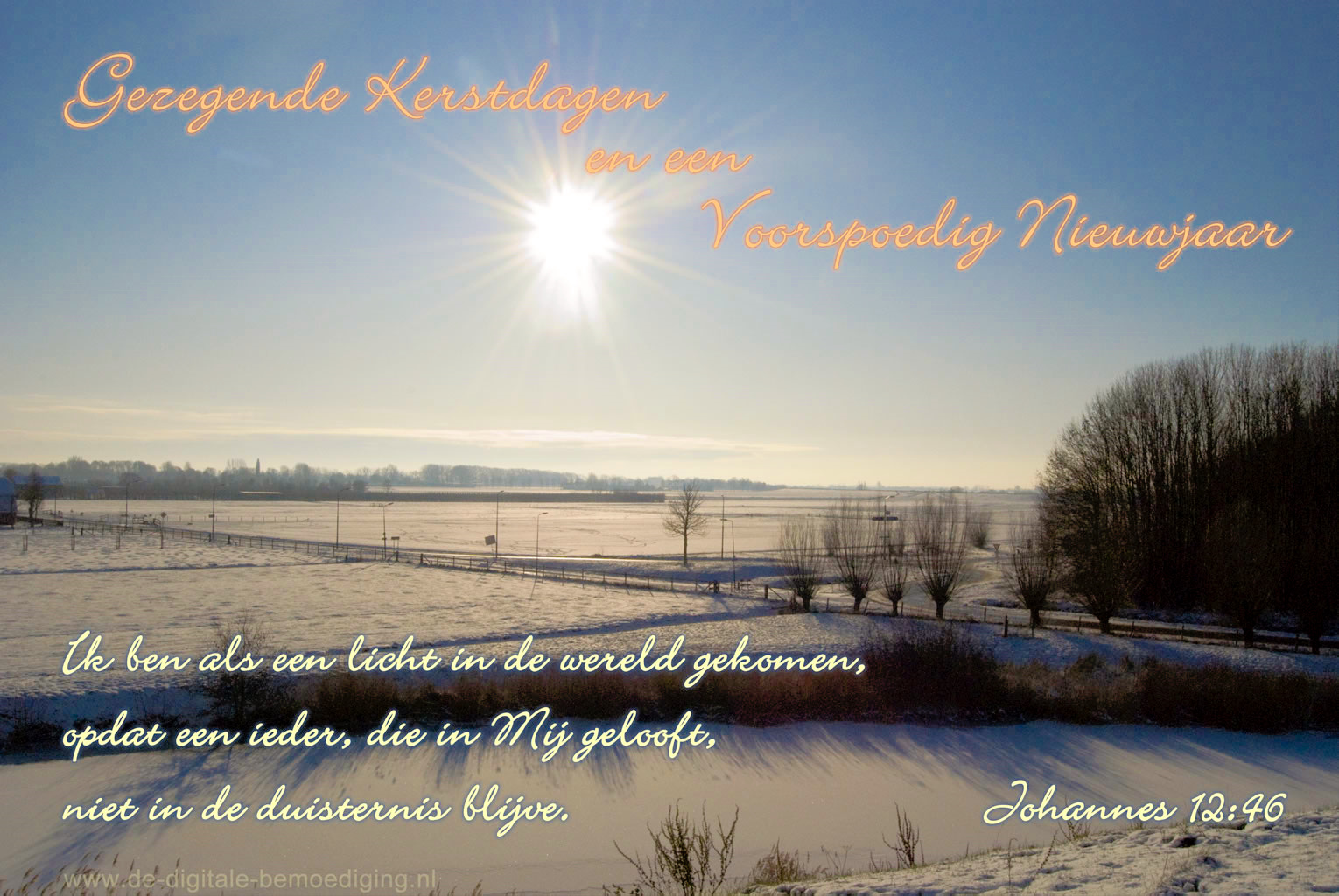Gezegende Kerstdagen Ecard winter landschap