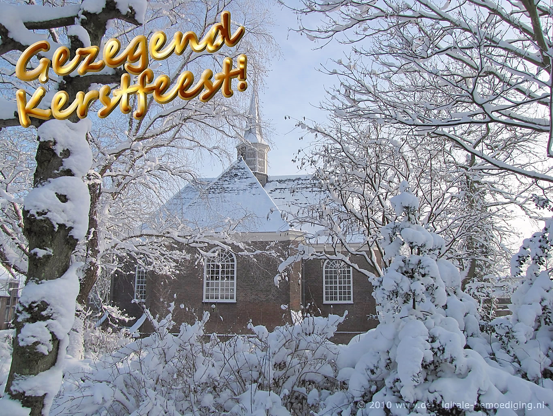 Gezegende Kerstdagen Ecard winter kerk