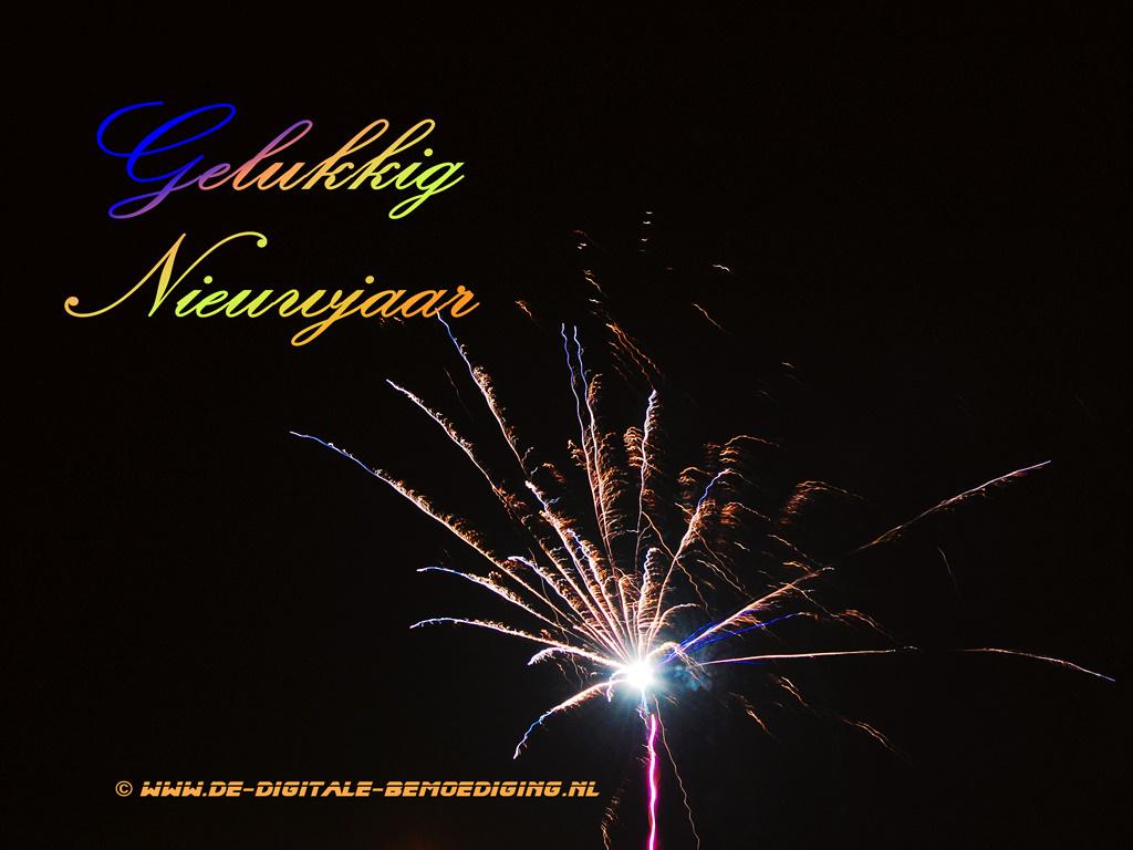 Gelukkig Nieuwjaar vuurwerk Blauw en gele letters