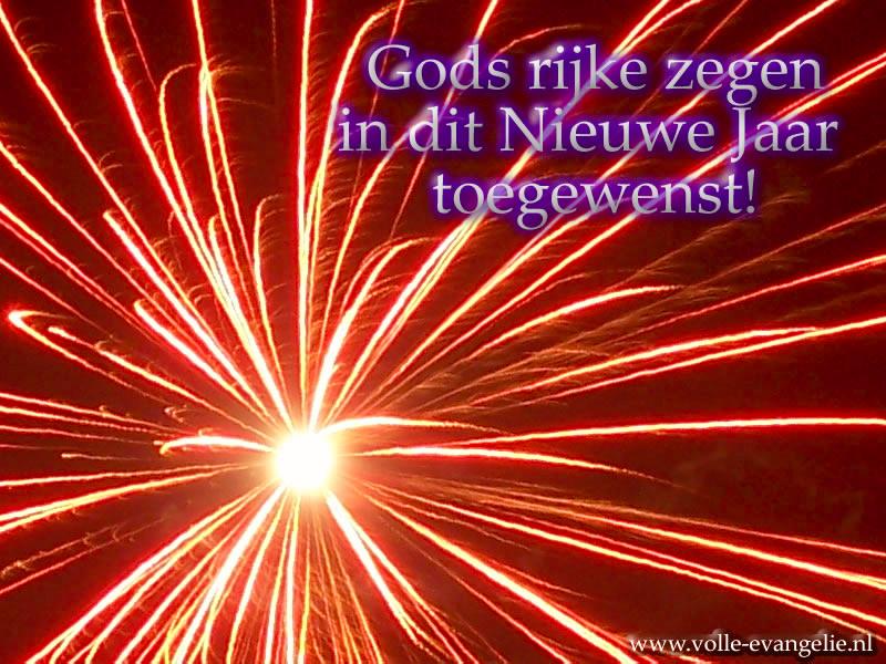 Gods rijke zegen toegewenst in dit Nieuwe Jaar! rode vuurwerkknal
