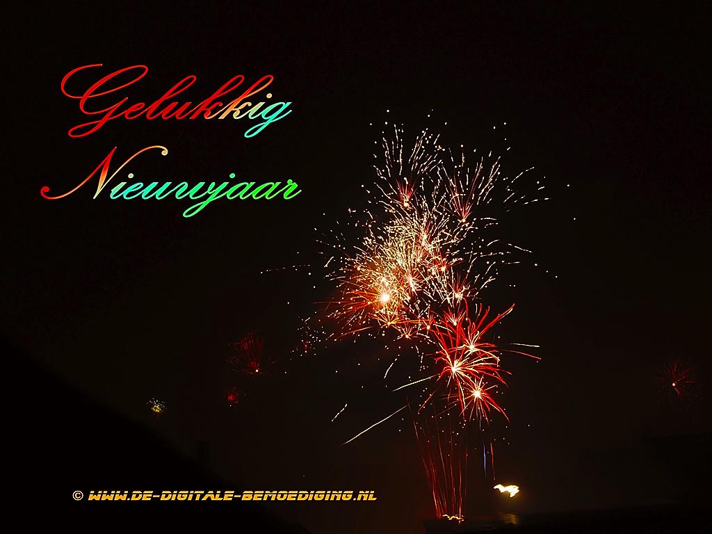 Gelukkig Nieuwjaar vuurwerk rood en groene letters