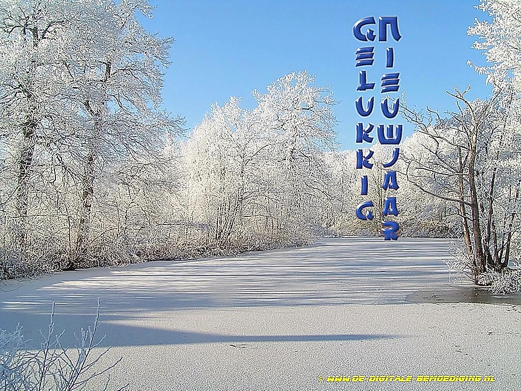 Gelukkig Nieuwjaar Blauwe lucht witte sneeuw bevroren gracht chinese letters